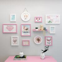 现代实木相框创意挂墙组合套装照片架影楼像框架简约摆台可爱画框 组合一套价