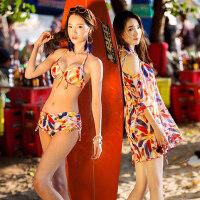 游泳衣女罩衫比基尼三件套bikini小胸聚拢钢托性感泡温泉泳装 支持礼品卡支付