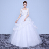 婚纱礼服新款冬季韩版双肩大码遮手臂婚纱长袖孕妇新娘婚纱 M 胸围83