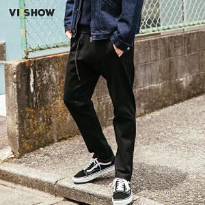 VIISHOW2017秋装新品休闲九分裤男直筒绑绳裤腰男士裤子青年潮