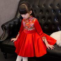 儿童旗袍演出服拜年小礼服红 儿童礼服夏季女童长袖公主裙中式复古 红色