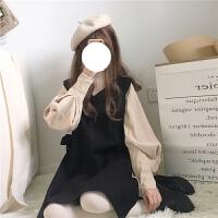 春季女装韩版新款日系软妹两件套衬衣+毛呢背心连衣裙套装女