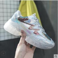 水晶鞋彩色亮片透明果冻底系带厚底松糕坡跟老爹鞋运动鞋网红女鞋