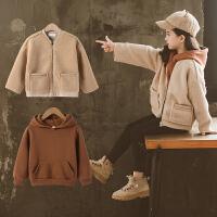 女童套装秋冬款羊羔毛外套卫衣洋气网红童装