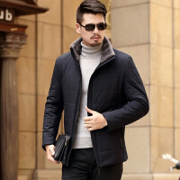秋冬新款中年男士棉袄休闲加厚羊羔毛棉衣男外套翻领男装保暖