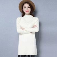 秋冬天中长款加厚打底毛衣女反季韩版百搭半高领修身显瘦羊绒衫潮 米白色 米白色