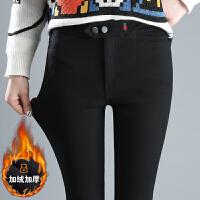 冬季加绒打底裤女外穿加厚新款黑色裤子保暖女裤高腰小脚裤潮