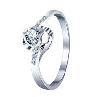 先恩尼钻石戒指定制18k金婚戒群镶钻石女戒 心形款设计求婚戒指 正规证书心花放XZJ1049