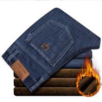 冬天加绒牛仔裤男直筒修身中年男士商务爸爸装长裤子保暖男裤弹力 蓝色(加绒)