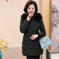 中老年女装冬装中长款40-50岁上衣中年妈妈装大毛领棉衣外套 XL 建议体重95-110斤