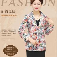 秋款女装上衣大码妈妈装短款外套中年女士韩版修身印花小西服西装
