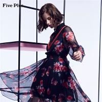Five Plus女装雪纺连衣裙蕾丝拼接不规则印花长裙子宽松长袖