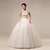 新款韩版一字肩甜美蕾丝公主性感齐地婚纱 米白色