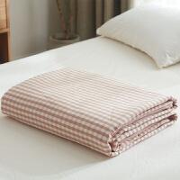 日式全棉空调被 棉花被夏凉被 水洗棉单人夏被双人学生宿舍薄被子 粉小格 棉花被