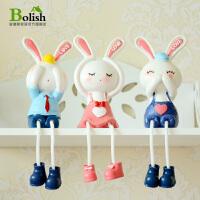 田园吊脚娃娃摆件小创意礼品客厅酒柜家居装饰品生日礼物树脂摆设 三不兔子大号