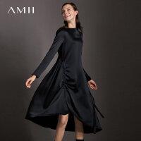 【到手价:351元】Amii极简浪漫风chic港味ulzzang连衣裙女2019春新款宽松黑色裙子
