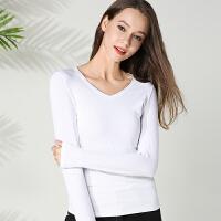 白色打底衫女长袖秋冬季百搭韩版纯色莫代尔棉V领T恤款外穿秋衣
