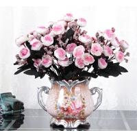 欧式仿真花套装摆件客厅餐桌假花干花盆栽摆设装饰花艺 卡其色 D瓶+5丁香花浅粉