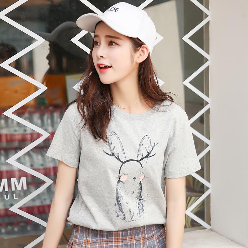新品韩版宽松百搭圆领动物印花短袖T恤女装上衣潮