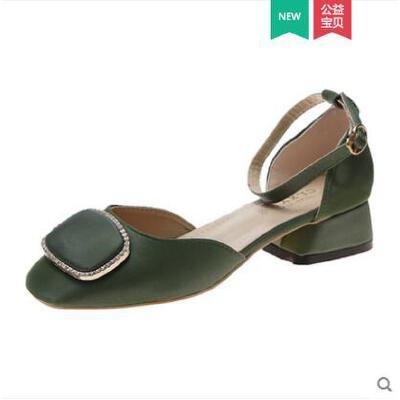 包头女士凉鞋时尚新款百搭温柔晚晚鞋子中跟粗跟水钻一字带仙女风 品质保证 售后无忧