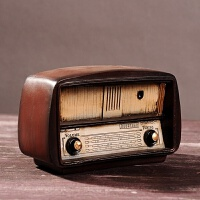 创意仿旧风格家居装饰品摆设客厅酒柜电视柜摆件仿真复古收音机 复古收音机18*7*11.5cm
