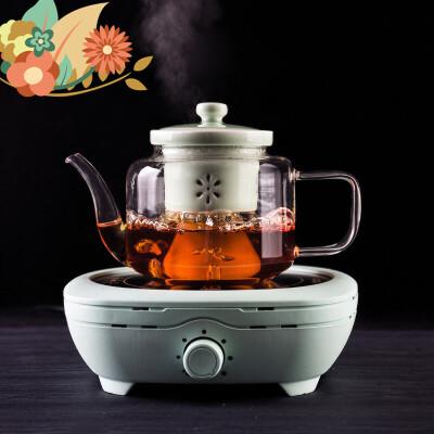 玻璃蒸茶器煮茶器蒸汽黑茶泡茶壶普洱茶具烧水壶电陶炉茶炉 h8l 蒸茶更有味道 茶炉自带安全控温