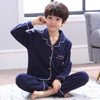 儿童睡衣男童纯棉长袖春秋季男孩中大童薄款两件套装家居服