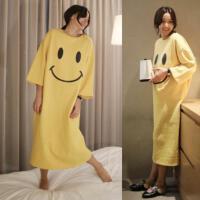 韩观长袖睡裙女春秋季长款韩版夏大码睡衣冬季甜美可爱笑脸裙
