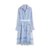 【2件3折 折后价:279】LILY春款女装气质绣花显瘦半身裙长袖条纹衬衫连衣裙两件套