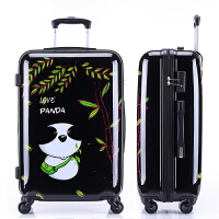 时尚卡通旅行箱可爱拉杆箱男女学生动漫行李箱万向轮20/24寸 熊猫黑色 20寸