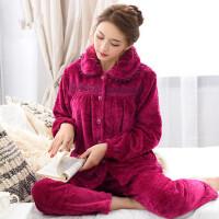 中年妈妈法兰绒睡衣女款加厚珊瑚绒家居服女装大码中老年套装 支持礼品卡支付