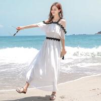 一字露肩雪纺裙子女夏2018新款吊带蕾丝连衣裙长裙海边度假沙滩裙