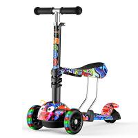 儿童滑板车闪光1-2-3-6岁三合一可坐三轮小孩踏板宝宝滑滑溜溜车