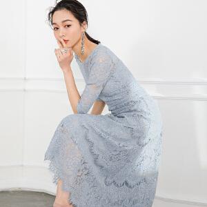 2018韩国春夏装新品水溶蕾丝连衣裙女中长款高腰裙 短袖镂空长裙