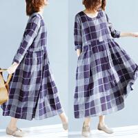 大码女装春季女胖mm2018新款减龄显瘦格子拼接遮肚文艺连衣裙长裙