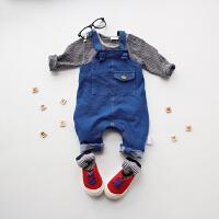 7婴儿连体衣服新生儿背带裤0岁3个月6春夏季牛仔背带裤4潮童款