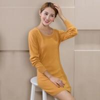 秋冬羊绒衫女圆领中长款针织羊毛打底衫低领套头毛衣包臀裙加大码