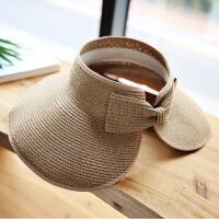 夏季草帽可折叠空防晒太阳帽便携户外遮阳帽大沿沙滩帽可折叠帽 M(56-58cm)