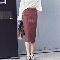 秋冬女装新款高腰显瘦包臀针织毛线中长款开叉一步裙半身裙子 均码