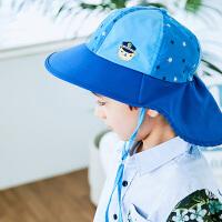 儿童防晒帽子遮脸夏季薄款大帽檐女童男童遮阳帽宝宝盆帽