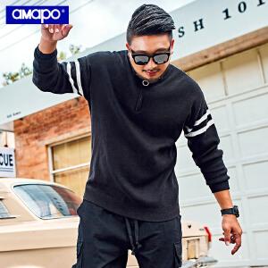 【限时抢购到手价:105元】AMAPO潮牌大码男装冬季高领拉链开襟毛衣加肥加大宽松保暖针织衫