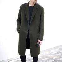 20冬季新款双面呢子大衣男中长款韩版修身毛呢外套落肩青年风衣 (夹棉里衬)