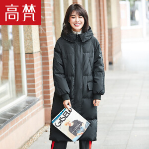 高梵2017冬季新款时尚休闲中长款连帽羽绒服女 宽松韩版保暖外套