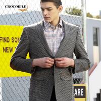 男士羊毛单西毛呢休闲西服上衣中年宽松外套 卡其色