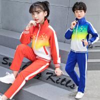 班服2018新款女童男童运动长袖套装校服学生中大儿童春秋季两件套