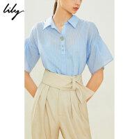 【25折到手价:137.25元】 Lily20夏新款女装条纹荷叶袖宽松含吊带套头衫衬衫119240C4102
