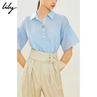 Lily20夏新款女装条纹荷叶袖宽松含吊带套头衫衬衫119240C4102