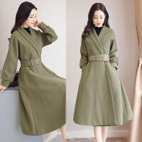 秋冬新款系带风衣女中长款韩版修身显瘦时尚百搭气质外套潮