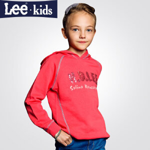 LEE童装 秋季新品女童时尚休闲上衣 儿童连帽长袖卫衣外套