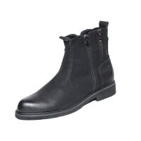 秋冬英伦马丁靴男潮流尖头短靴内增高加棉皮靴韩版黑色高帮皮鞋男